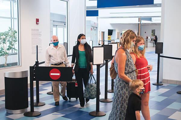 Passengers going through TSA